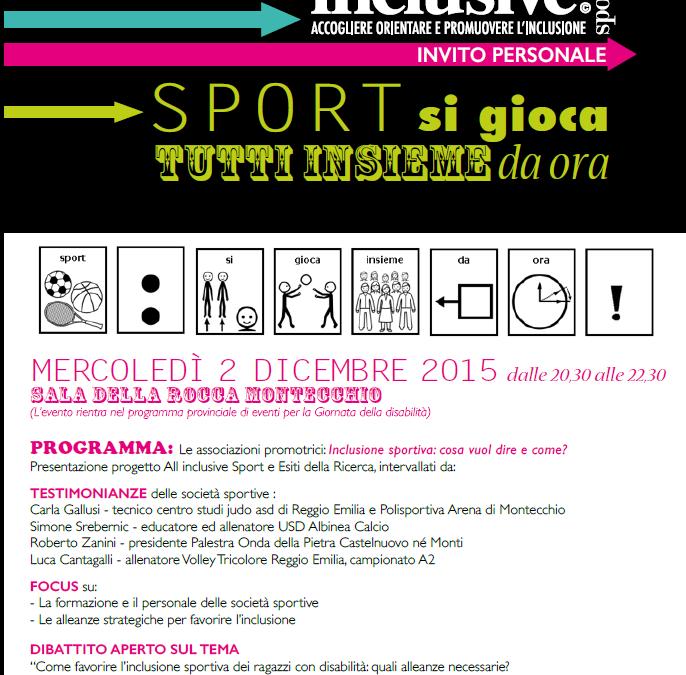 """2 Dicembre   """" Sport: si gioca tutti insieme da ora """" Montecchio"""